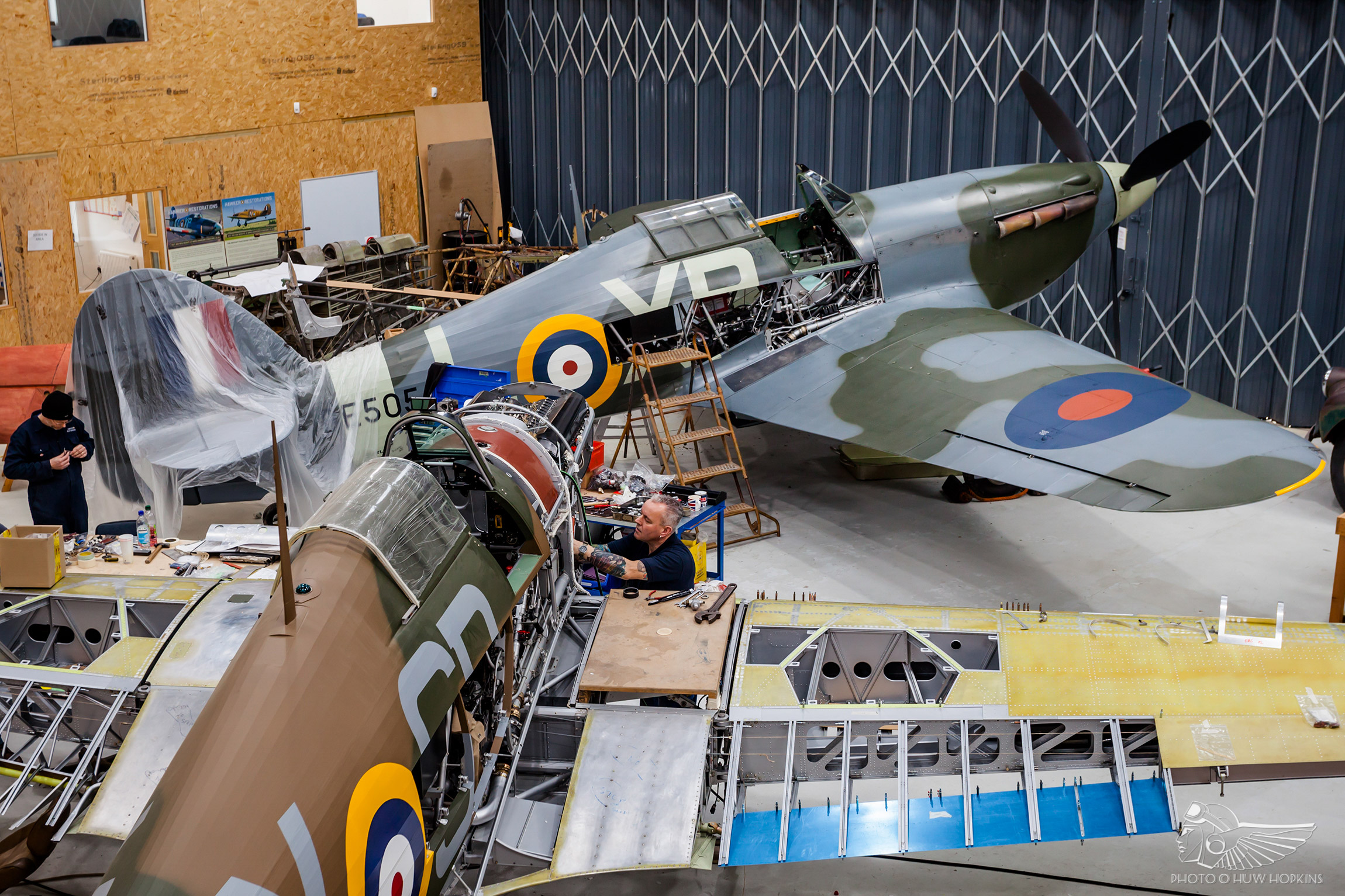 Hurricane BE505 set for two-seat conversion by Hawker